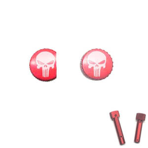 Red Anodized AR-15 Extended Takedown Pins - Laser Engraved Punisher Skull