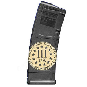 AR15 Magazine Magpul Pmag 30rd laser engraved - Three percenter 1776
