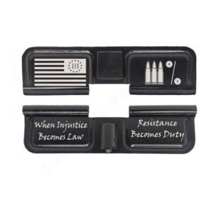 AR-15 Ejection Port Laser Engraved - Three percenter flag law