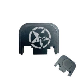 Glock Back Plate Laser Engraved - Punisher Skull Star
