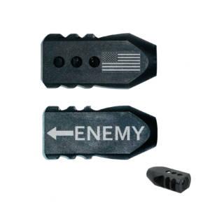 .223/5.56/.22LR Tanker Muzzle Brake 1/2x28 TPI Engraved - U.S. Flag Enemy Arrow