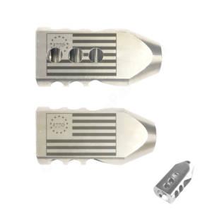 .223/5.56 TANKER Stainless STEEL MUZZLE BRAKE Laser Engraved - 1776 Flag