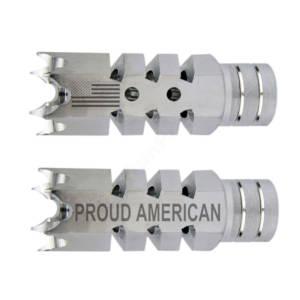 .223/5.56 1/2″X28 Shark Muzzle Brake Stainless Laser Engraved - Proud American US Flag