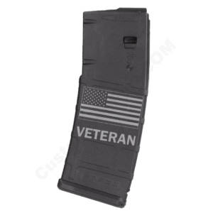 AR15 Magazine Magpul Pmag 30rd laser engraved - Flag Veteran