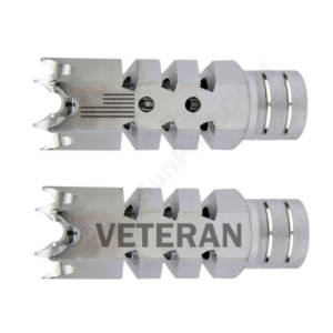.223/5.56 1/2″X28 Shark Muzzle Brake Stainless Laser - US Flag Veteran